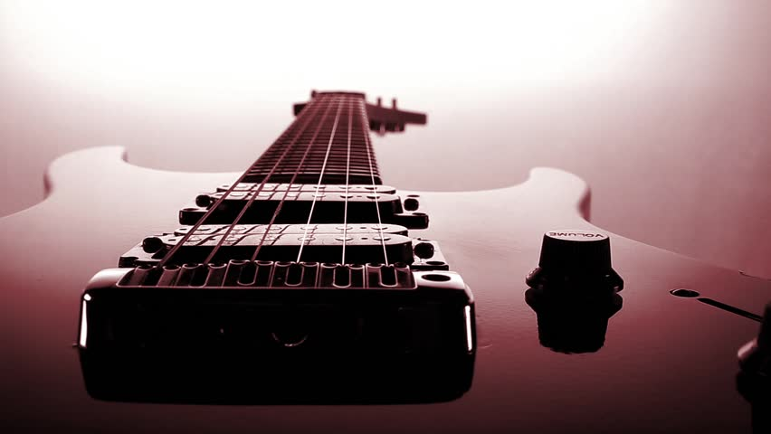 Electric guitar red tone reflection and motion