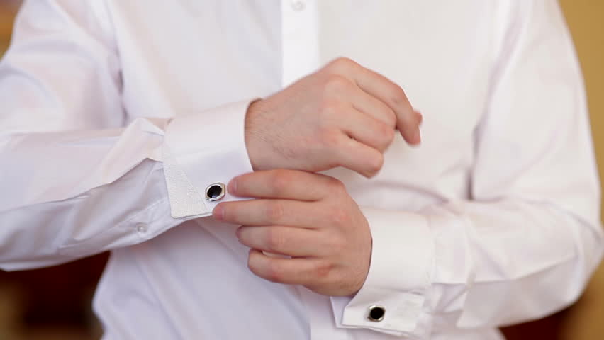 Man Wears White Shirt And Cufflinks Stock Footage Video 6138701 ...
