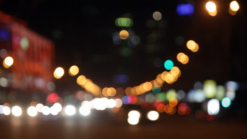Night City Lights And Traffic Background. Out Of Focus