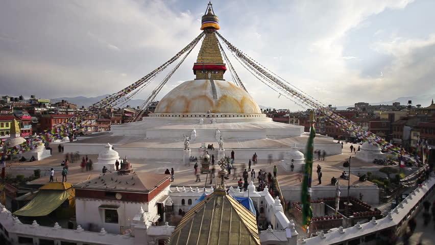 Pilgrims walking around Boudhanath Stupa timelapse, Kathmandu, Nepal - HD stock footage clip