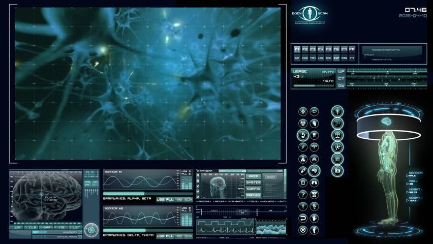 Human neural network visualization. Futuristic medical application interface.