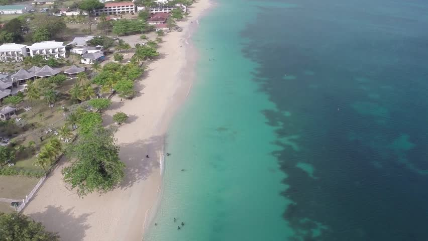 Grand Anse Beach, Grenada - Lateral Flyover - HD stock video clip