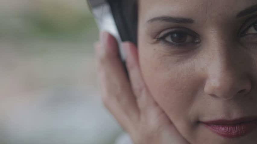 music , beautifull woman listening to music with her headphones