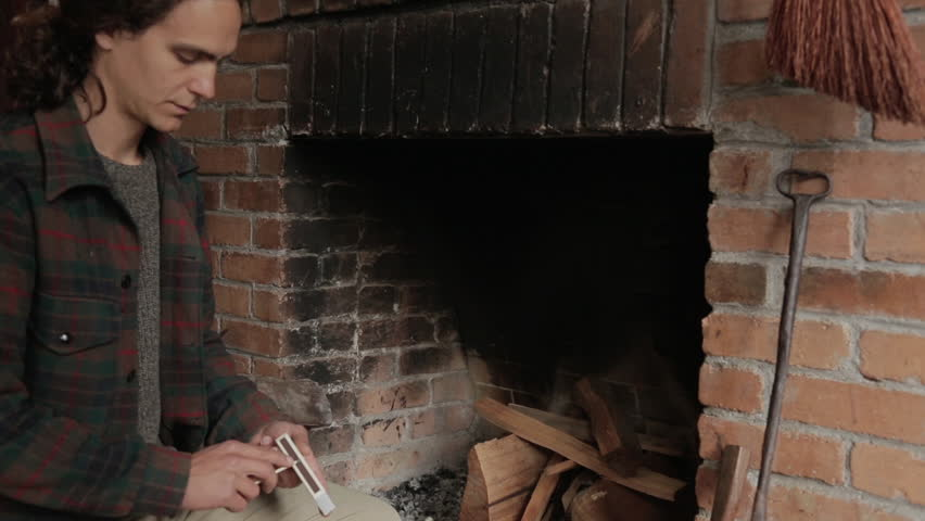 Man Making A Fire In The Fireplace Stock Footage Video 74173 ...