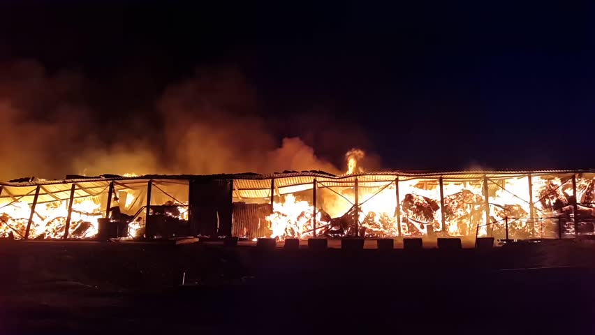 Fire at the industrial warehouse