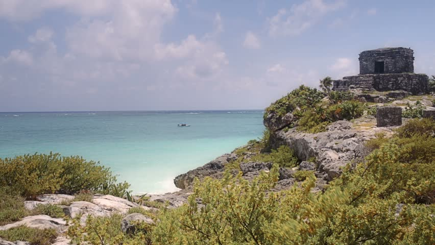 Mayan ruins on a summer day on the caribbean sea - HD stock footage clip