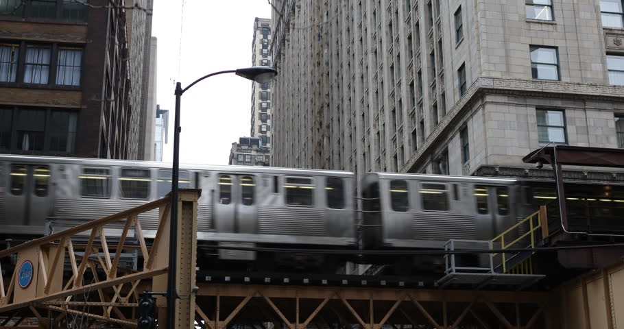 L Train Passing Modern Downtown Chicago Transit Authority Vintage Metro Subway ( Ultra High Definition, Ultra HD, UHD, 4K, 2160P, 4096x2160 ) | Shutterstock HD Video #6242093