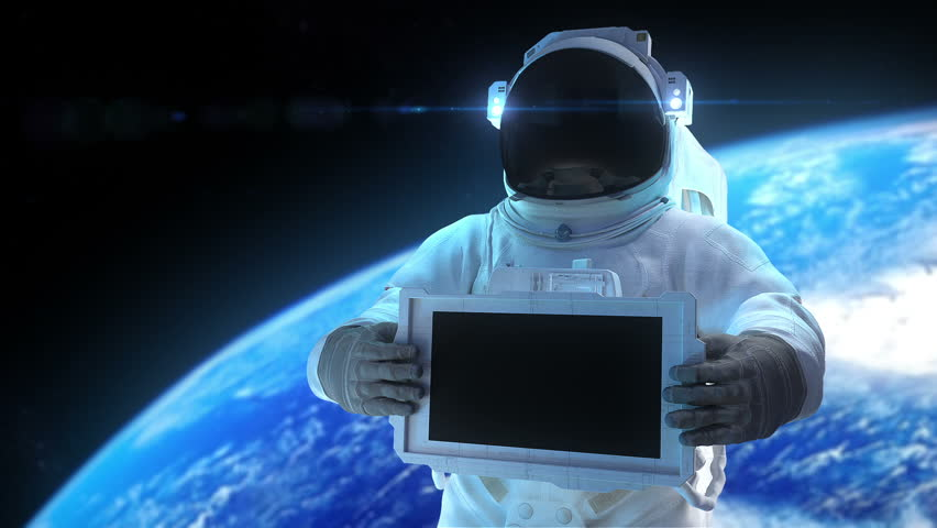 "Astronaut with display. Animation of astronaut with the electronic display. Inside file matte mask, 3d trackers, and signs ""Welcome"", ""For Sale"", ""Sale"", ""Best Price"""