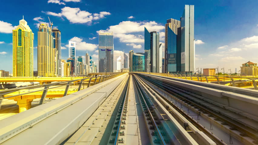 4K TimeLapse - From windshield window of the first wagon of Dubai metro, November 2012 - 4K stock video clip