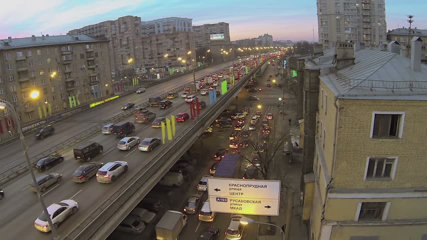 Car congestion on Third Transport Ring at winter evening in Moscow. Aerial view   Shutterstock HD Video #6283619
