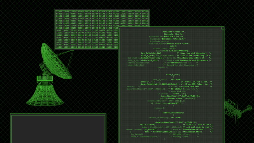 Looping computer screen with dataLooping shot of a generic computer screen used for a hacker, computer virus, software programmer or mainframe.Smooth computer generated in full HD, endless looping.