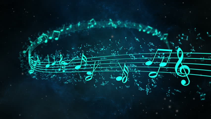 Animated background with musical notes, Music notes flowing, Flowing, flying stream of Music Notes - depth of field - 4K stock video clip