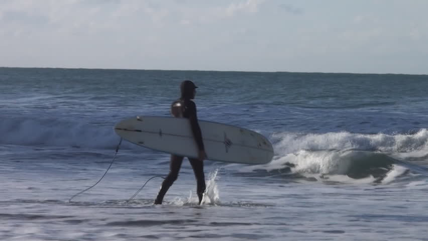 Surfing in Cornwall, England - HD stock footage clip