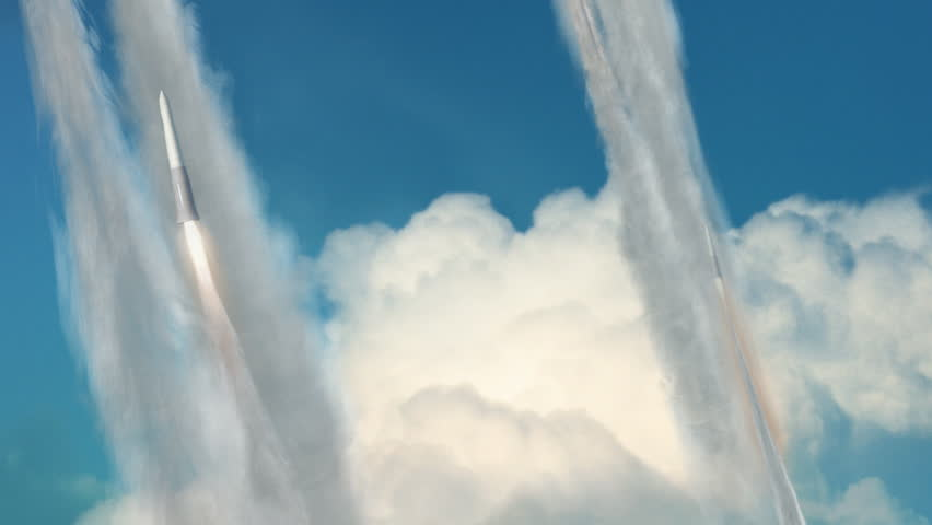 Looping animation of a group of missiles being launched and in flight.