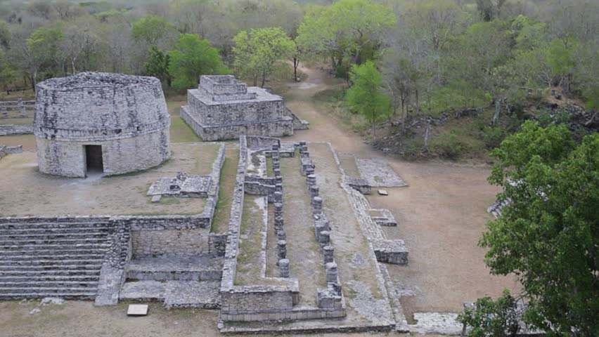Astronomical observatory in mayan archaeological site - HD stock video clip