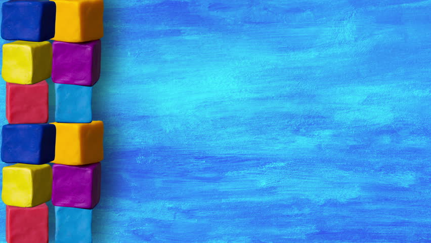 kids cubes on blue background loop stop motion seamless