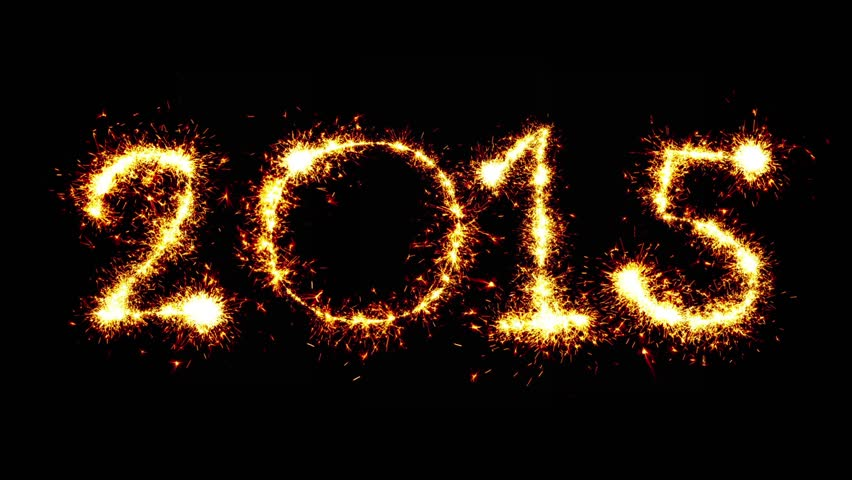 Year 2015. Sparkler animation. - HD stock video clip