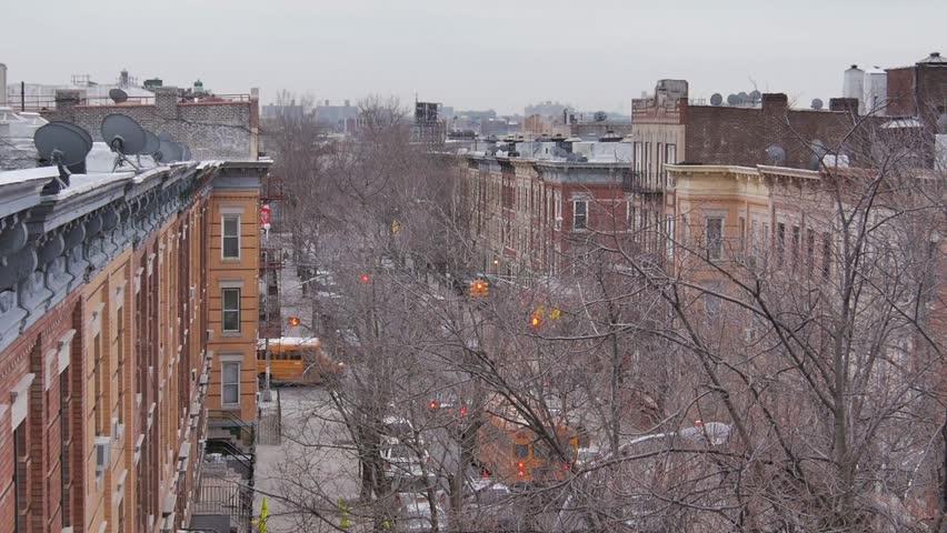 New York, March 2014 - Roof top view of a neighborhood in Queens.