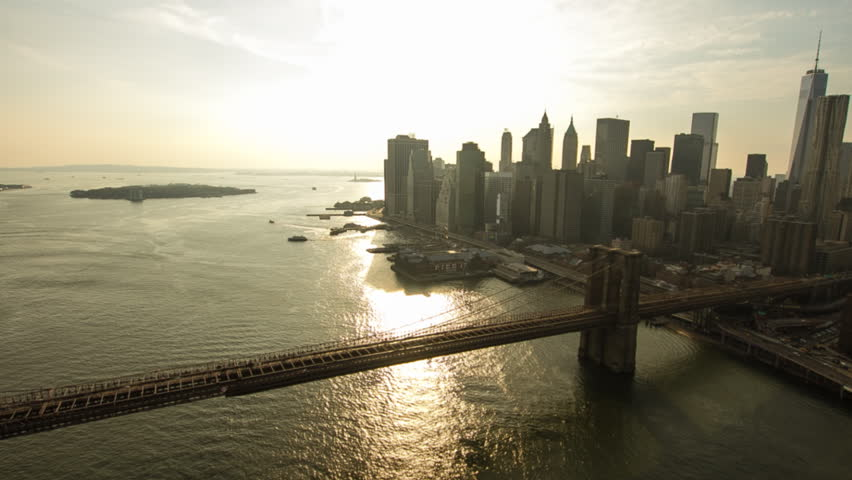 Aerial view over Brooklyn Bridge and Manhattan, New York. | Shutterstock HD Video #6406082
