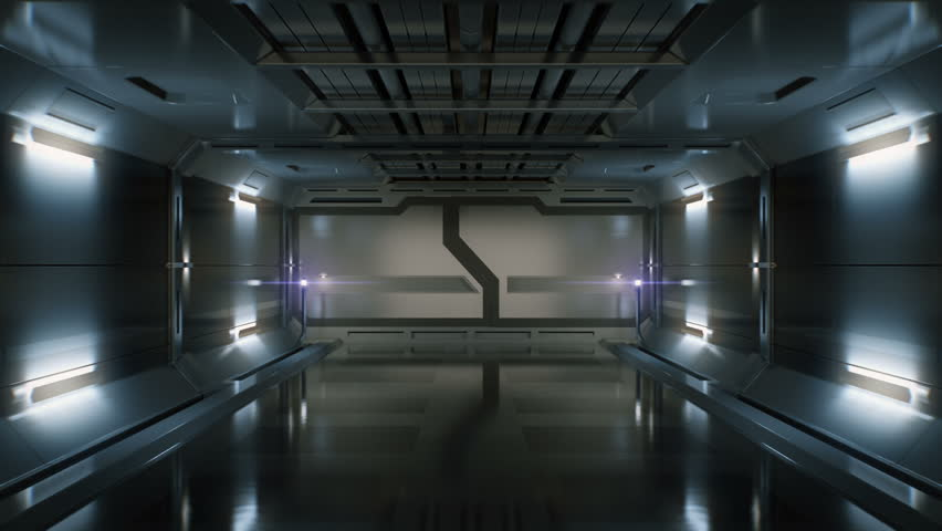 3D Computer generated ride in a spaceship tunnel. Opening gates. Alpha channel included. | Shutterstock HD Video #6421886