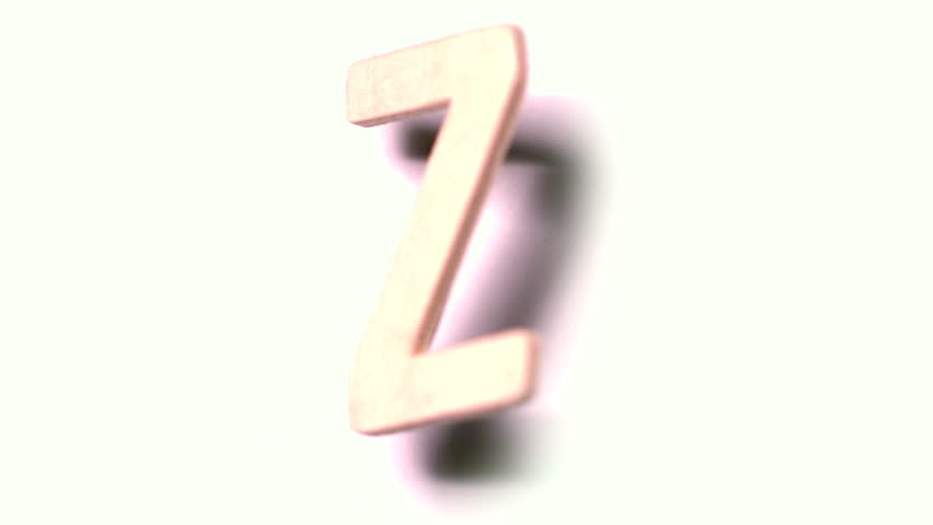 The letter z rising on white background in slow motion - HD stock video clip