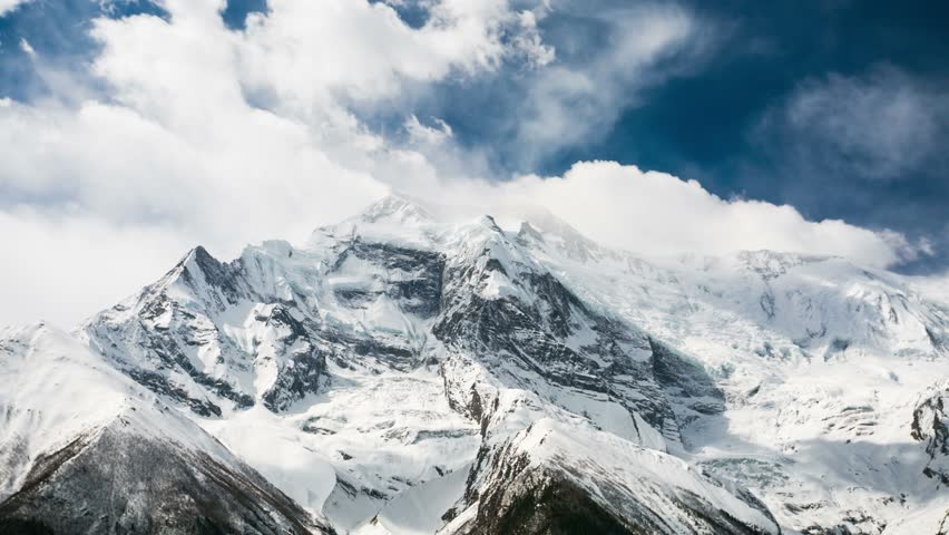 4k Timelapse of Annapurna II mountain, 7,937 m (26,040 ft). Nepal, Himalayas. Annapurna II is a part of Annapurna circuit trek, one of the most popular adventure circuit trek in the world. | Shutterstock HD Video #6434783