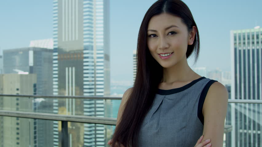 Portrait Young Asian Chinese Businesswoman City Background ...