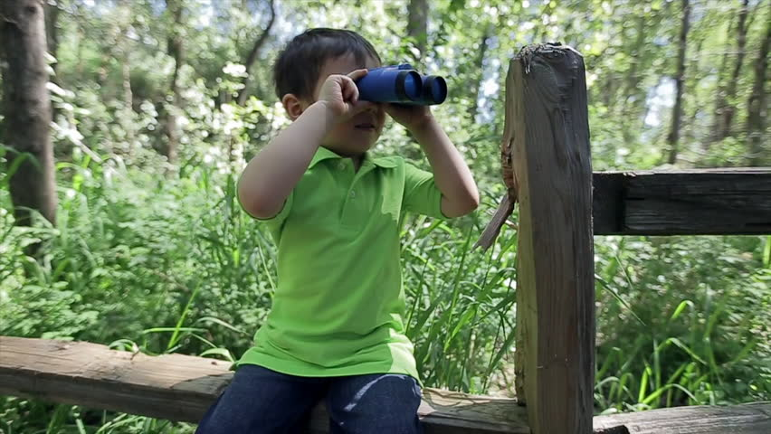 Little Boy Takes A Break On A Fence, And Uses His Binoculars To Explore The Forest