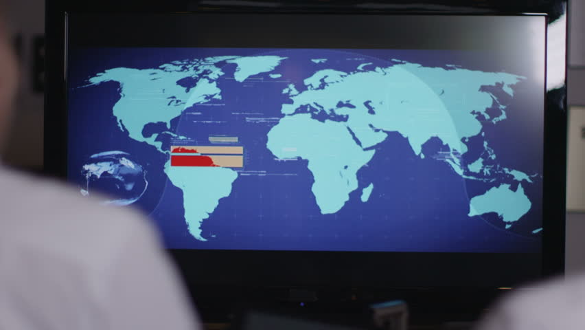 Coworkers looking over map on screen - HD stock video clip