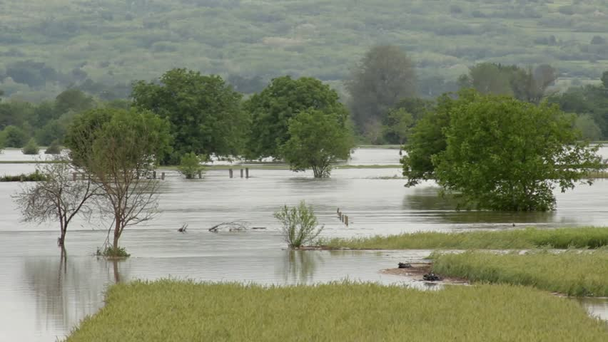 The great floods in the countryside,overflowed and damaged agricultural fields - HD stock video clip