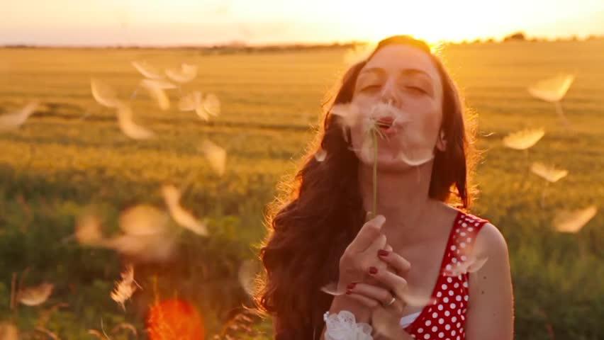 Beauty Young Woman Blowing Dandelion Wishing Joy Concept #6532559