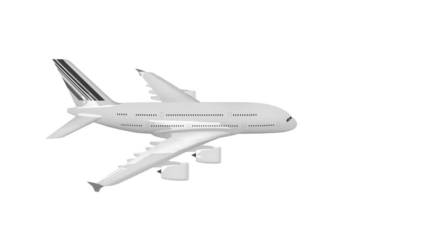Airplane On White Background With Alpha Stock Footage ...