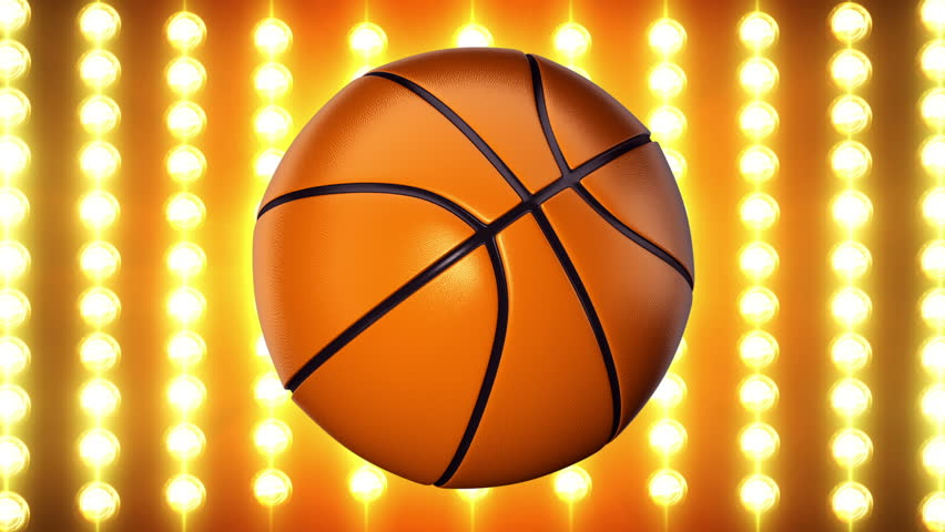 Ball for basketball with realistic texture rotate on background of golden light wall. Animation of seamless loop.