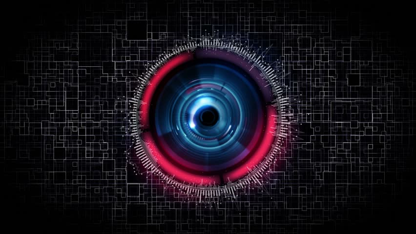 futuristic science fiction robot eye security scanner