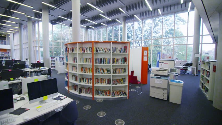 Interior view of a large modern university building no for Modern library building design