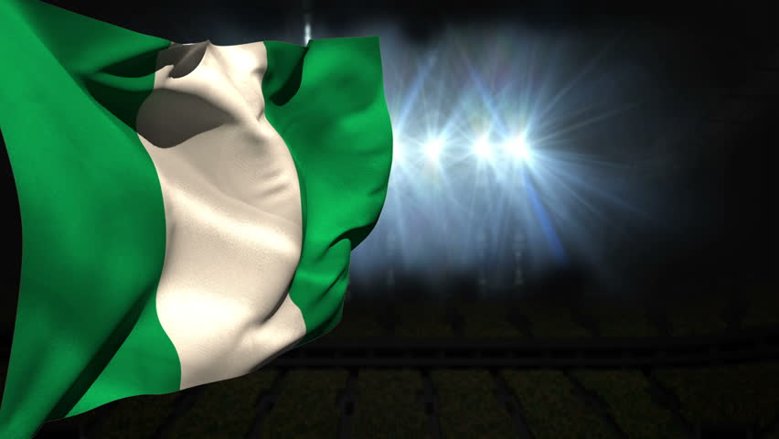 Large nigeria national flag waving on black background with flashing lights - HD stock footage clip