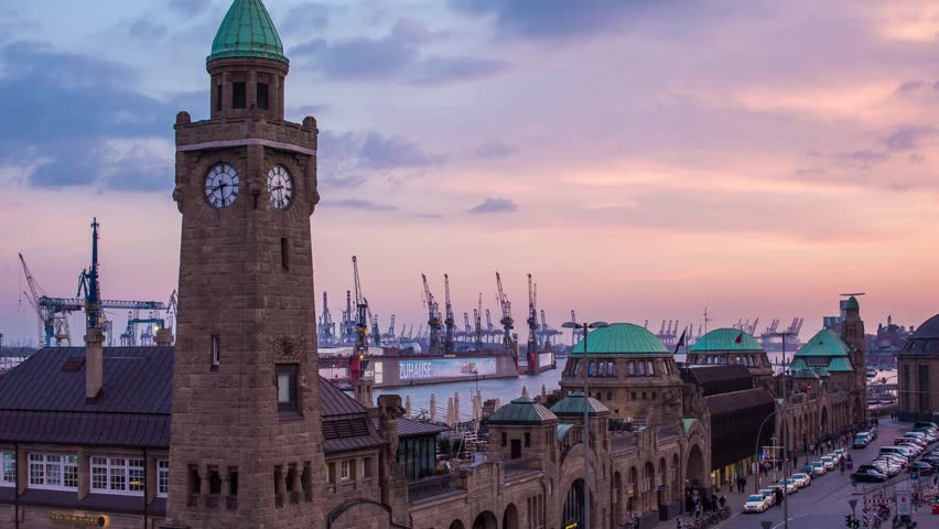 Hamburg St. Pauli Landungsbruecken - Hamburg harbor in the evening - DSLR hyper lapse | Shutterstock HD Video #6593624