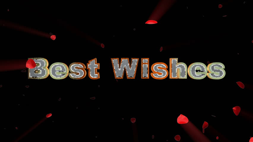 Best Wishes and rose heart exploding - HD stock footage clip