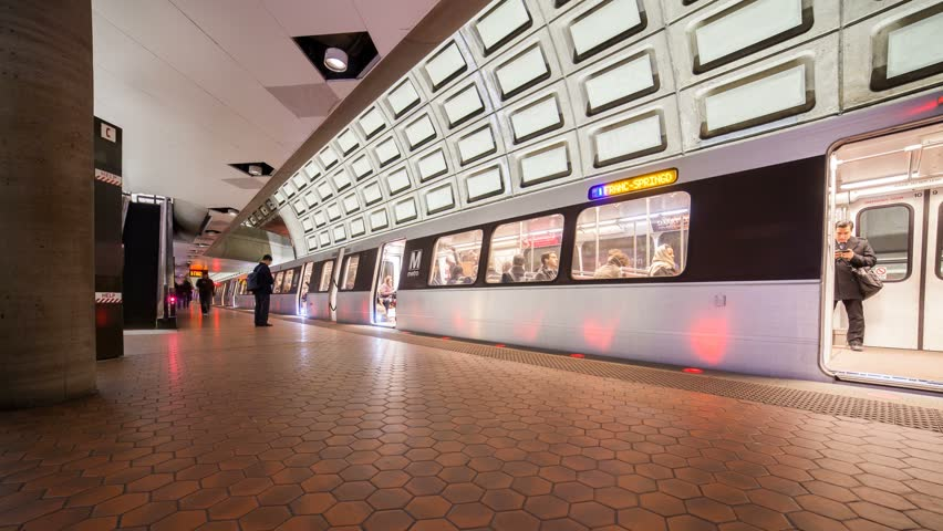 WASHINGTON DC - FEB 19: Itimelapse view over the metro urban railway system or metrorail which is the second-busiest rapid transit system in the United States on 19 February 2014 in WASHINGTON DC, USA - 4K stock footage clip