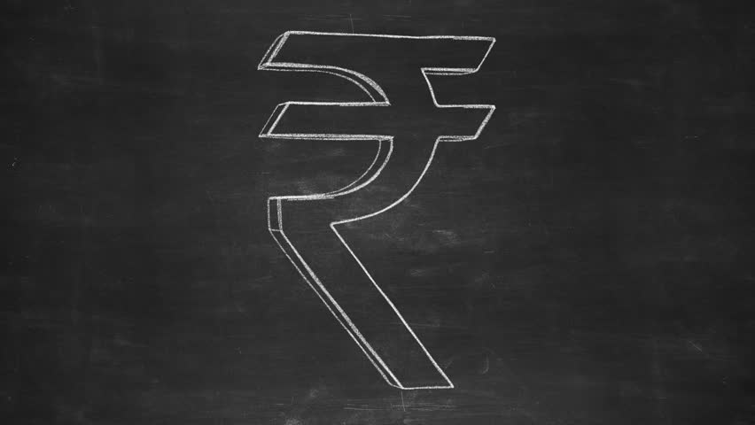 Hand drawn rupee sign rotating on the black chalkboard. Seamless loop animation. Another versions available - check my profile. - HD stock video clip
