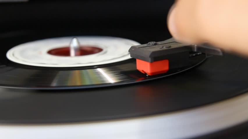 vintage vinyl record on turntable player