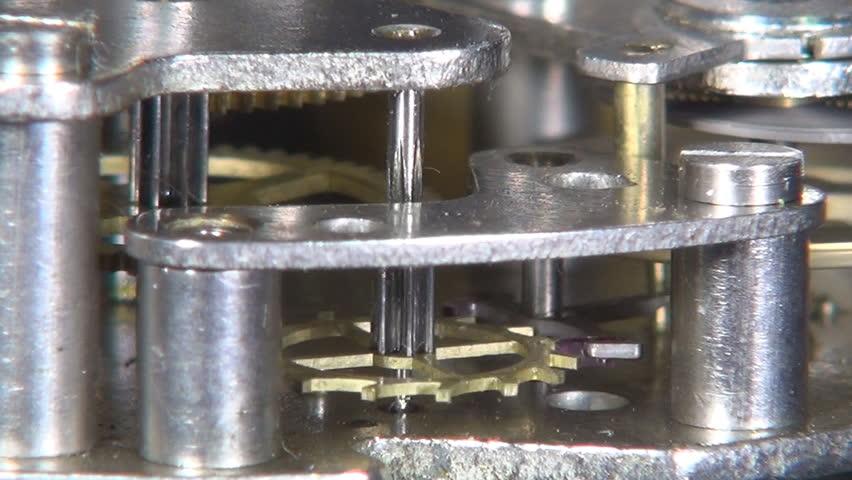 Working clock mechanism, Mechanical watch interior, Watch mechanism - HD stock footage clip