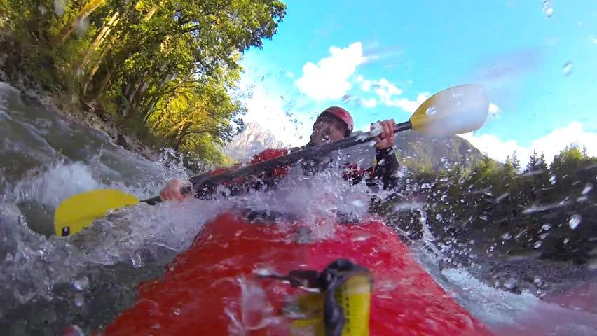 Whitewater kayaking, flip and roll, Skykomish River, WA   Shutterstock HD Video #6665435