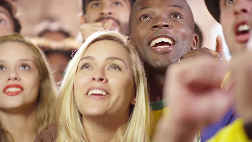 Fans Watch a Soccer Game, and celebrate a successful play at a Sports Bar