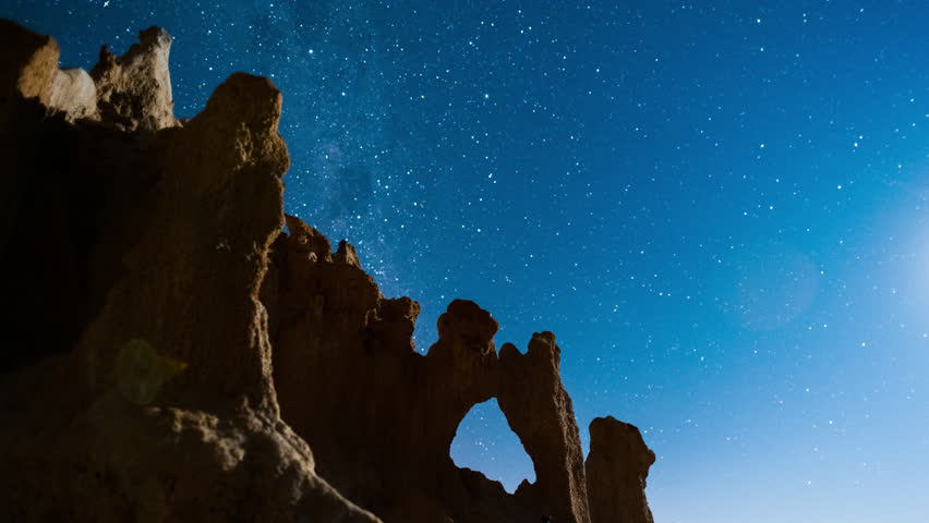 Push-in linear timelapse of an abstract landscape scene with eroded sand formations at night while the Milky Way is setting with an iridium flare.
