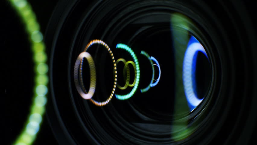 Video Camera Lens Reflection camera lens flare closeup with laminated ... Video Camera Lens Reflection