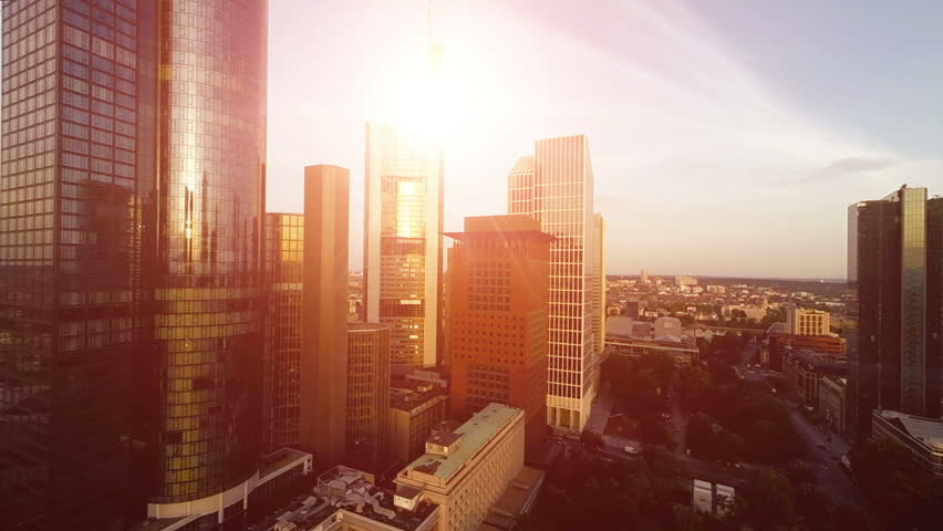 Aerial View Of City Skyline At Sunset. Frankfurt Business ...
