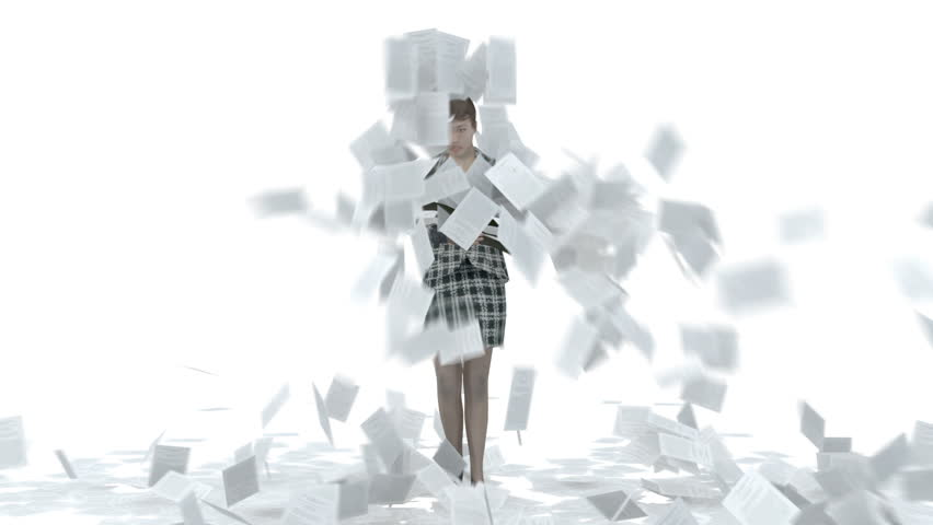 Business woman standing with folder deluged with paperwork