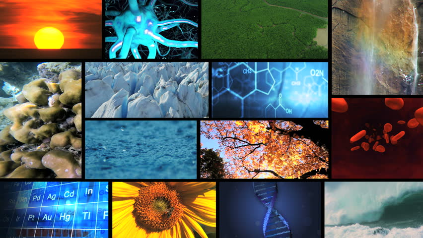 3D video wall montage nature environmental science life research human lifestyle water earth - HD stock footage clip