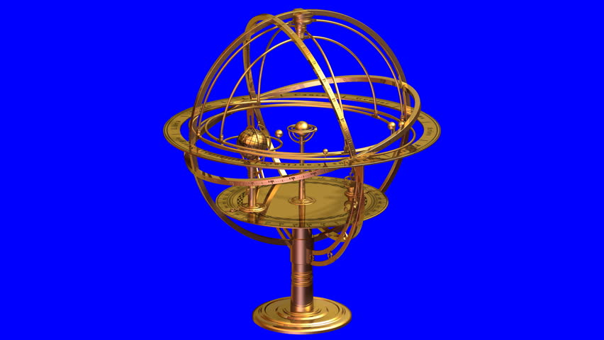 Armillary Sphere. 3D Animation. Loop.